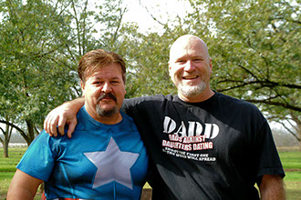 Tony Evans and Brendan Kelly in Americus Georgio while Scouting for the film Giant.